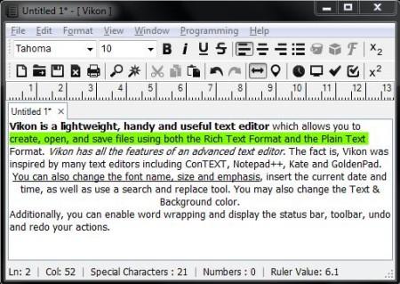 Free Advanced Text Editor - Vikon - Interface