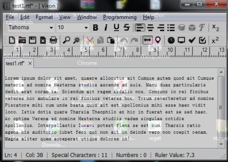 Free Advanced Text Editor - Vikon - Transparent Mode