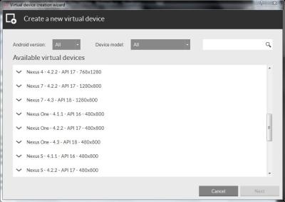 Free Andriod Emulator - GenyMotion - Choose device