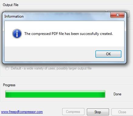 Free PDF Compressor- complete the compression process