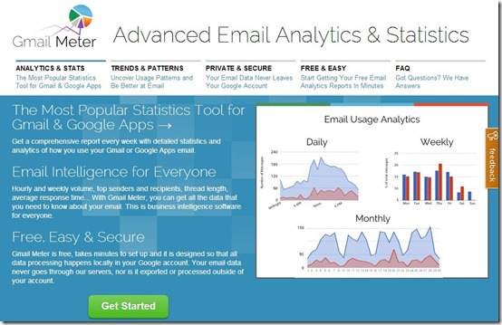 Gmail Meter- email analytics-home page