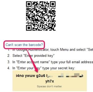 Google Authenticator app- enter provided key