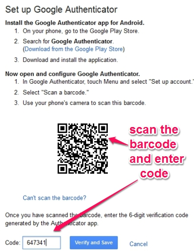 Google Authenticator app- scan barcode and enter generated code