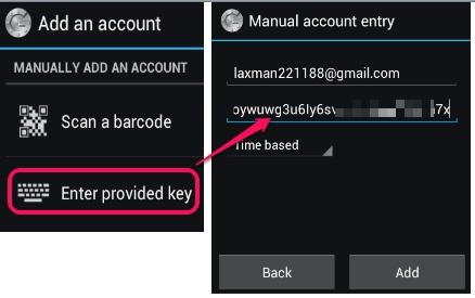 Google Authenticator app- set up account with secret key