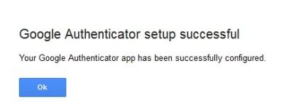 Google Authenticator app- successfully configured
