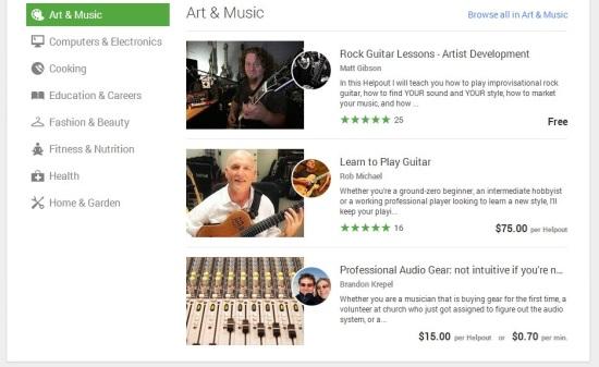 Google Helpouts - Browse Categories