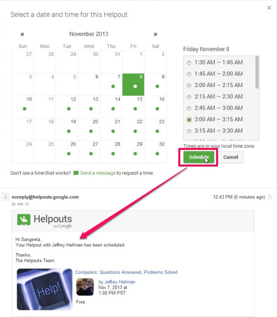 Google Helpouts - Scheduling Helpouts