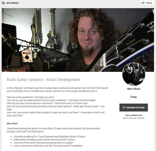 Helpout  Rock Guitar Lessons - Artist Development  by Matt Gibson