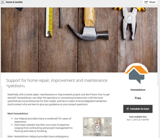 Helpout Support for home repair, improvement and maintenance questions by HomeAdvisor