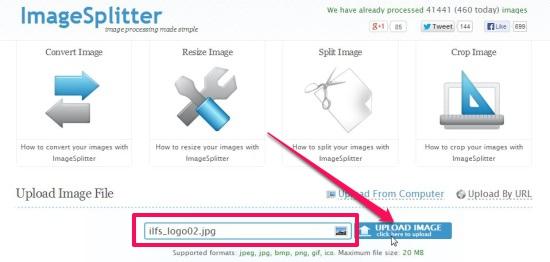 Imagesplitter - Uploading Image