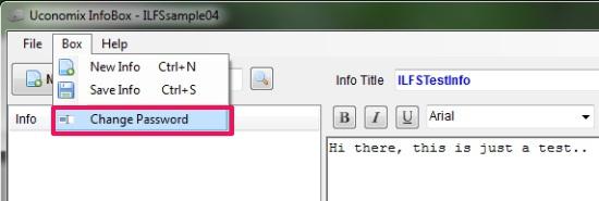 InfoBox - Changing Password