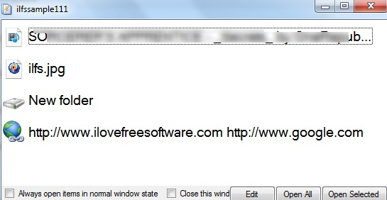 Instant File Opener- menu list