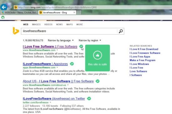 Internet Explorer 11 - Safe Search Results