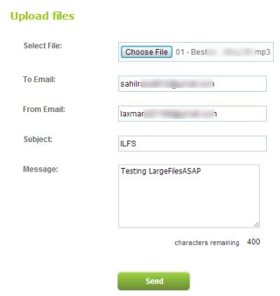 LargeFilesASAP- upload file to send