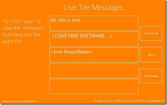 Live Tile Messages