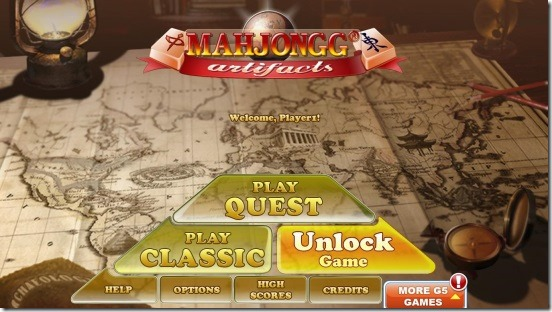 Mahjong Artifacts - main screen and game modes