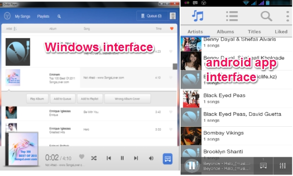 OnAir Player- Windows and android interface