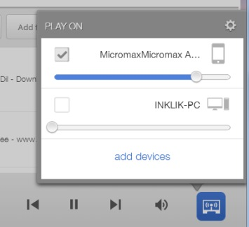 OnAir Player- select device to play music
