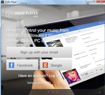 OnAir Player- sign in