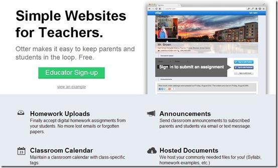 Otter-webiste for teachers-home page