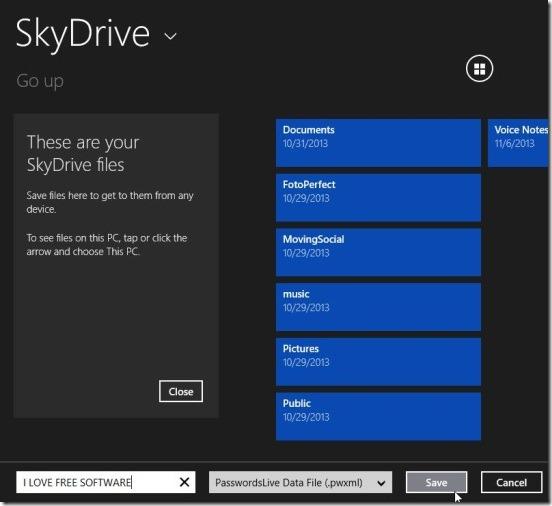 PasswordsLive - exporting in SkyDrive