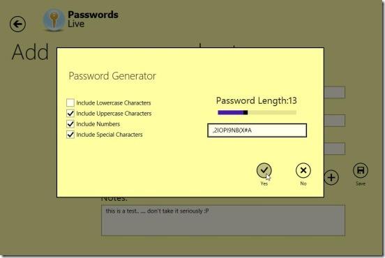 PasswordsLive - inbuilt password generator