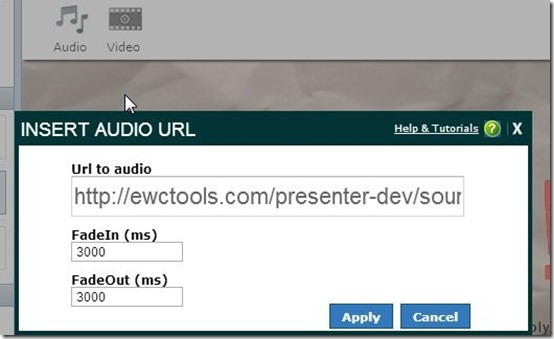 Presenter-online presentation maker- add audio file