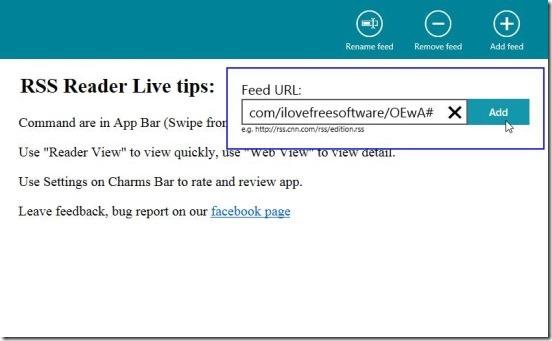 RSS Reader Live - adding new RSS source