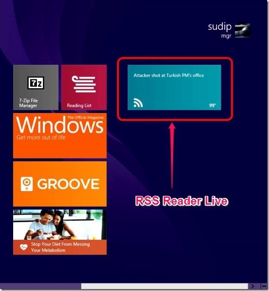 RSS Reader Live - live tile