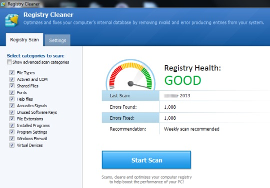 Registry Cleaner- interface