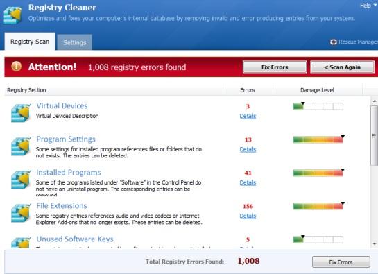 Registry Cleaner- scanned result