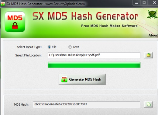 SX MD5 Hash Generator- interface
