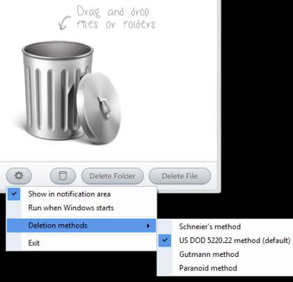 Securely File Shredder- select a deletion method