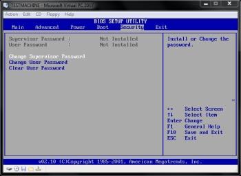Set up a BIOS Password - Security Tab