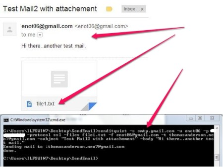 Send email from command line - SendItQuiet - Sending Email with attachment