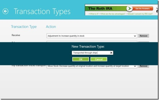 Simple Inventory Control - creating new transaction type