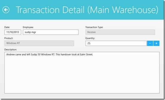 Simple Inventory Control - transaction details
