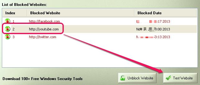 Simple Website Blocker- test a blocked website