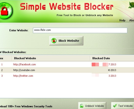 Simple Website Blocker- interface