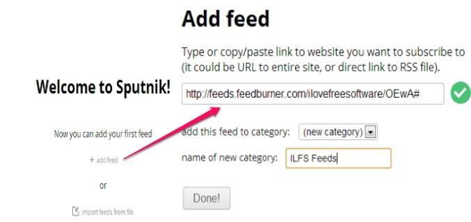 Sputnik- add feed or import file