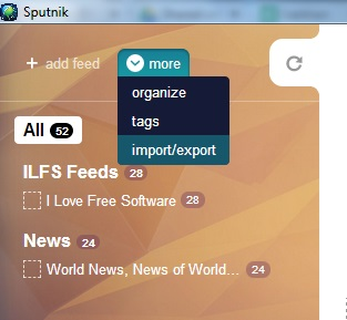 Sputnik- add feeds and export to pc for offline reading