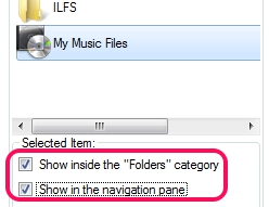 This PC Tweak- show selected item in navigation pane and in folders category