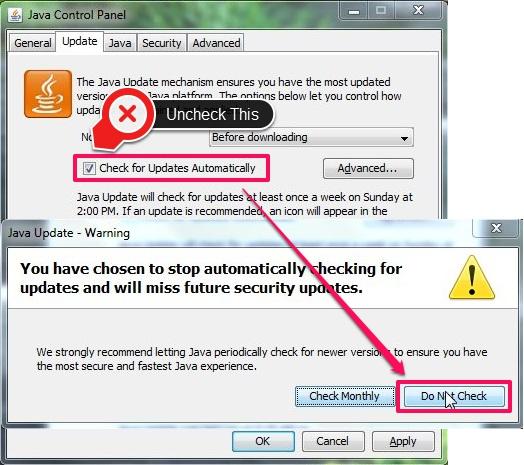 Turn Off Java Updates - Disabling Java Updates Check