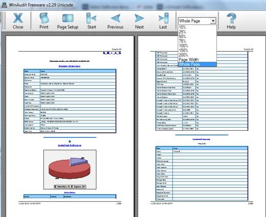 WinAudit- print preview