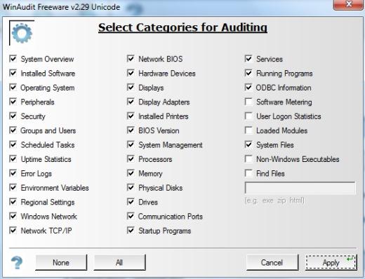 WinAudit- select categories