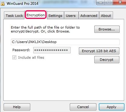 WinGuard Pro 2014- enrypt a file or folder