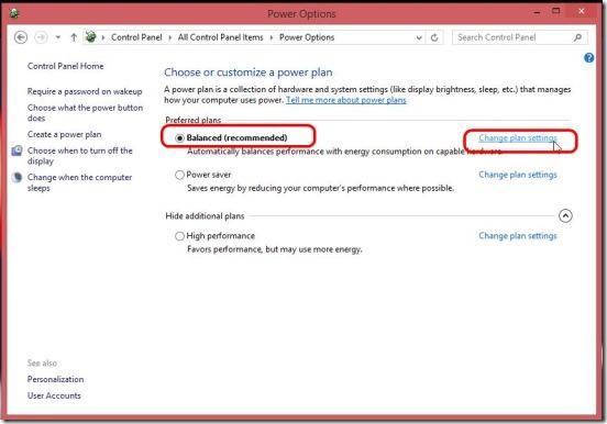 Windows 8 tutorial - change plan settings