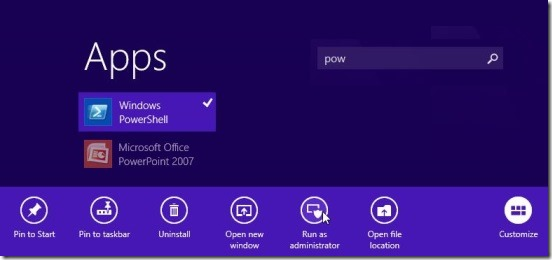 Windows 8 tutorial - running PowerShell as Admin