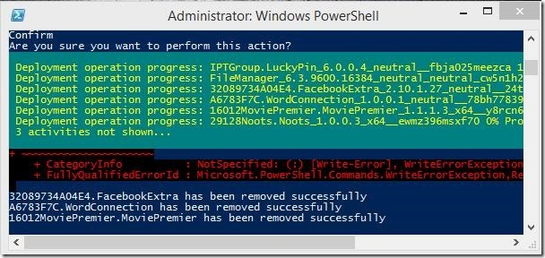 Windows 8 tutorial - uninstalling multiple apps in Windows 8 successful
