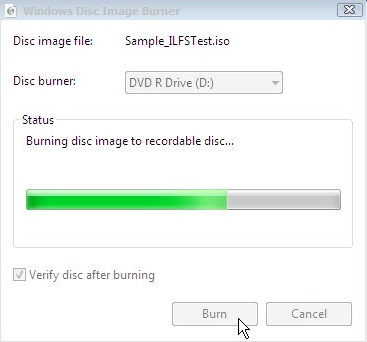 Windows Disc Image Burner - Burning Progress